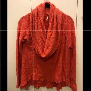 Free People Orange Cowl Neck Knit Sweater Sz XS